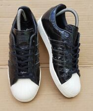 ADIDAS SUPERSTAR 80'S TRAINERS BLACK PATENT CROC EFFECT IN SIZE 5 UK MINT