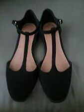 Asos Black Faux Suede T Bar Shoes Size 7