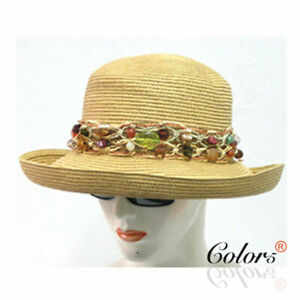 Summer Straw Hat with Wide String Beads Band