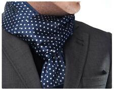 New Mens Double Side Scarf Silk Wool Blend Navy with Large White Polka Dot