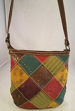 Fossil multicolor patches suede with tooled floral purse slingback