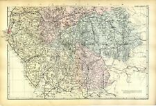 1883 ANTIQUE MAP Cumberland Westmorland LAKES Railways HOUSES Large Detailed;
