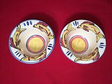 Two Studio Pottery Rice Bowls/Fruit Cups, Blue,Yellow,Orange,Cream / Dated '01