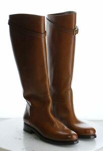 12-74 New $1,850Women's Size 39.5EU Prada Tall Leather Riding Boot in Cognac