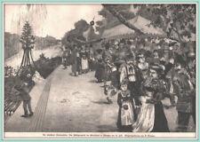 """""""München Zentenarfeier: Huldigungsfest d. Oberländer"""" Orig. Holzstich von 1888"""