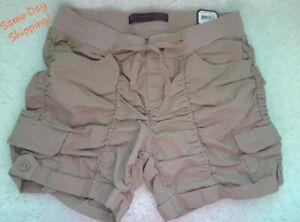 NEW! NB Khaki Beige Crinkle Tan Cargo Style Pleated Drawstring Shorts Jrs Size 5