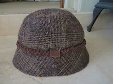 2406670e Eddie Bauer Woolen Brown Plaid SuedeTrim Bucket Style Hat NWOT
