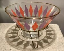 Mcm glass Chip Bowl Retro Purple Orange diamond pattern gold trim w/stand