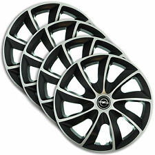 "Hub Caps 14"" OPEL Vectra Astra Omega 4x Wheel Trim Cover SILVER+BLACK QUAD"