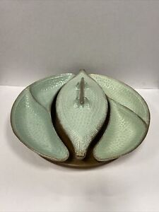 MCM California Pottery #404 Serving Dishes On Wood Lazy Susan Free Shipping