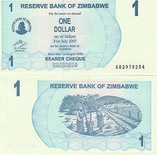 Zimbabwe P37, 1 Dollar, 2 women pounding maize with poles, Bearer Cheque, UNC