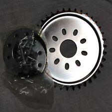 80cc engine motor bike parts - chrome 32 teeth dish sprocket with mount