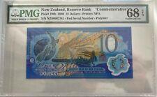PMG 68 New Zealand 2000 Millennium Commemorative Polymer Banknote 10 Dollars EPQ