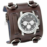 Punk Style Men's Wide Leather Watch Three Leather Straps Cuff Fashion Wristwatch