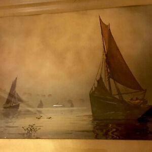 Antique Victorian Print Fishing Boats with Sails Unknown Artist Framed