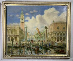 John Rettig (1855-1932) Original Oil on Canvas - Venice & St. Mark's Square