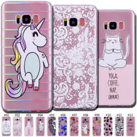 For Samsung Galaxy Painted Rubber Soft Silicone Clear Case Cover TPU Skin Back