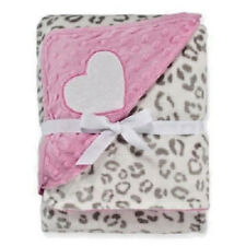 "OKIE DOKIE 30 X 40 Plush Reversible Animal Print & Puff Heart Baby Blanket ""NEW"""