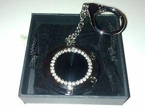 Black Circle Shaped Handbag Hanger/ hook with keyring attachment NEW