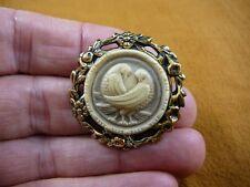 (cs7-21) DOVES bird CAMEO ivory gray round Pin Jewelry brooch PENDANT necklace