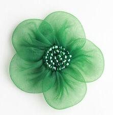 """5 X Gross Organza Blumen Zum Aufnähen Applikationen Größe: 2"""" Farbe: Grün #2"""
