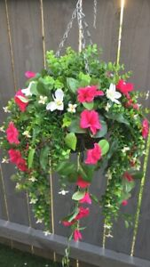 New Hot Pink Trailing Artifical Flower Hanging Basket Ready To Hang Garden