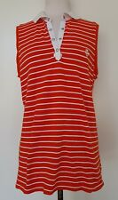 RALPH LAUREN Red/White Stripe Sleeveless Polo Top Size L/G