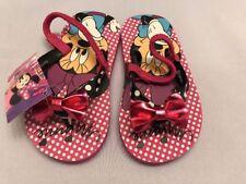 Disney Beach Flip Flops Shoes Sandals Size L 9-10 Minnie Mouse Kid Girls
