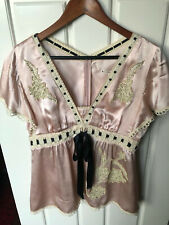 Embroidered satin shirt from Nanette Lepore