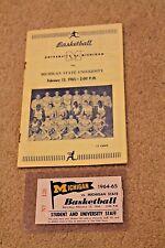1965 MICHIGAN Wolverines MSU COLLEGE BASKETBALL PROGRAM & TICKET Cassie Russell