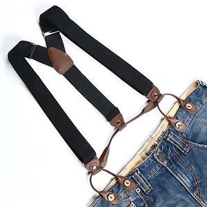 Men's Suspenders Adjustable Elastic Braces Faux Leather Button Holes Black BD705