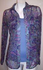 INC Top S Purple Paisley Stretch Knit Layered Rhinestone Buttons Shirt Blouse S