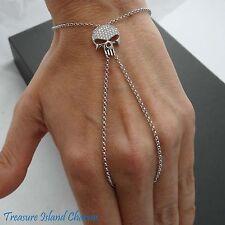 SKULL WITH CZ .925 Solid Sterling Silver SLAVE PANJA Bracelet Cubic Zirconia