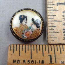 SATSUMA: TWO JAPANESE WOMEN Antique Porcelain BUTTON, w/ X Mark on Back