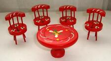 Super Vintage Dollhouse Red Wood Table & 4 Chairs, Toile White Flowers