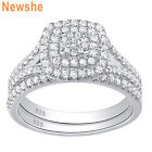 Newshe Flower Wedding Engagement Ring Set Women Halo Aaaa Cz Sterling Silver