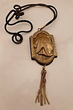 Vintage Egyptian Revival Tassel Brass Rope Necklace.