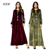 Women Muslim Maxi Dress Velvet Embroidery Abaya Jilbab Vintage Party Cocktail