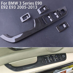 Fit For BMW 3 Series E90 2005-2012 Carbon Fiber Window Lift Panel Switch Trim A8