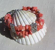 "Salmon (Orange) Bamboo Coral Chunky Cuff Bracelet ""Orange Fizz"""