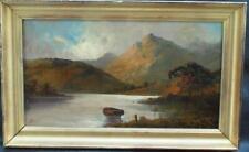 FINE 19thC HIGHLAND LOCH VIEW JOHN HENRY BOEL fl 1880-1920 Antique Oil Painting