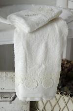 Gästetuch Handtuch Set Frottee Creme Bad Badezimmer Shabby Landhaus
