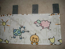 "globalbaby Tab Top Valances (2) 16x54"" Incl. Tab Black Gingham Tabs Farm Animals"