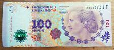 EVITA PERON  Billet de banque USED XF  Argentine 100 Pesos   , plis , fold AR46