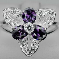SEDUCTIVE! PURPLE AMETHYST & WHITE SAPPHIRE STERLING 925 SILVER RING SIZE 7.5