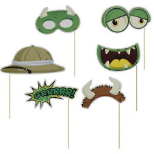 6 Piece DINOSAUR PREHISTORIC Party Photo Booth Props Accessories or Gifts DELF