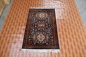 Turkish Black Gold color 2.6x4 ft Silk Rugs Area Rug Oriental Navajo Living Room