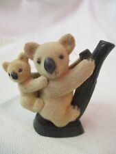 Vintage Hong Kong Figurine felted flocked Koala Mama & Baby on branch