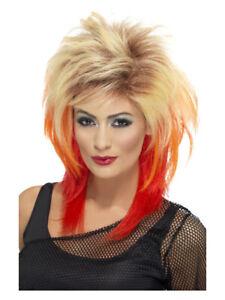 Blonde & Red 80's Mullet Wig Adult Women's Fancy Dress Costume