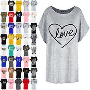 Womens Ladies Heart Love Valentines Oversized Batwing Sleeve Baggy T-Shirt Top
